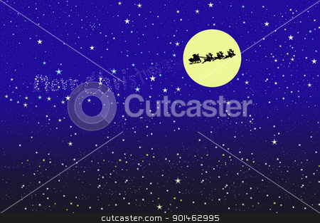santa on the moon background stock photo, santa on the moon background by Komkrit Muangchan