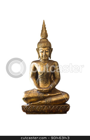 isolate image of Buddha on white background stock photo, isolate image of Buddha on white background by Komkrit Muangchan
