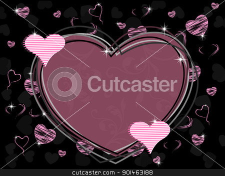 Vector illustration of a heart shape frame with seamless floral  stock vector clipart, Vector illustration of a heart shape frame with seamless floral work and shiny heart shape with texture on black background for Valentines Day. by Abdul Qaiyoom