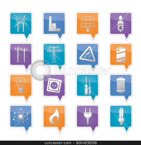 Electricity,  power and energy icons stock vector clipart, Electricity,  power and energy icons - vector icon set by Stoyan Haytov