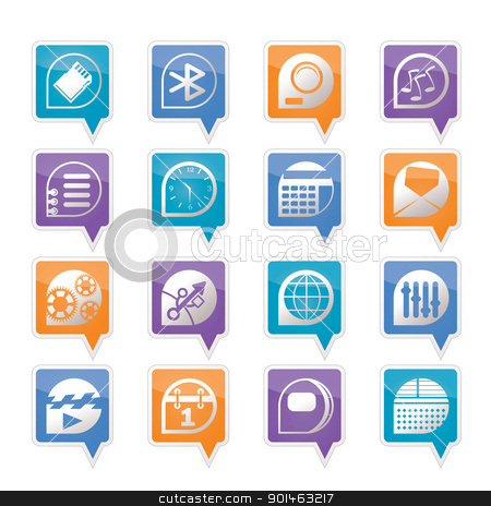 Mobile phone  performance, internet and office icons  stock vector clipart, Mobile phone  performance, internet and office icons - vector Icon Set by Stoyan Haytov