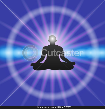 Meditation on Blue background stock vector clipart, Yoga Meditation on blue background with one person as a vector silhouette by Vitezslav Valka