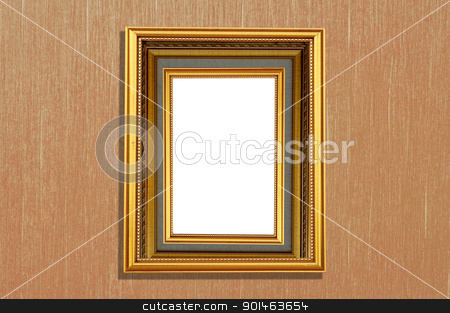 isolated picture frame on wallpaper background stock photo, isolated picture frame on wallpaper background by Komkrit Muangchan