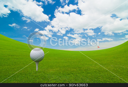 golf ball stock photo, golf course under the blue sky  by Komkrit Muangchan
