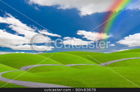 blue sky and rainbow stock photo, blue sky and rainbow view by Komkrit Muangchan