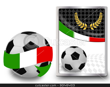 Soccer ball and web icon stock vector clipart, Soccer ball wrapped in ribbon with flag of Italy and web icon, vector illustration by radubalint