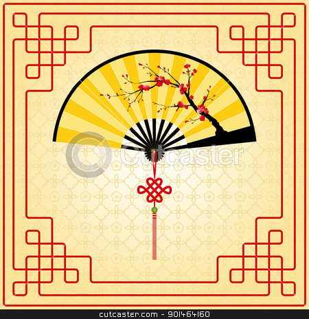 Chinese New Year greeting card stock vector clipart, Oriental style painting, Plum blossom on yellow Chinese fan by meikis