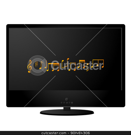 Black monitor stock vector clipart, Black lcd monitor with musical notes on the screen by Richard Laschon