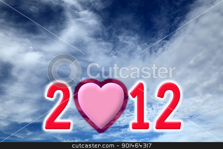 New Year Made of computer graphic on blue sky and white cloud ba stock photo, New Year Made of computer graphic on blue sky and white cloud background by Yuttasak Jannarong
