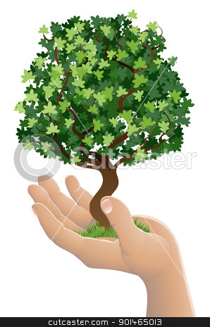 Hand holding a growing tree stock vector clipart, Conceptual illustration of a hand holding a growing tree by Christos Georghiou