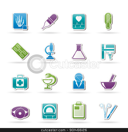 Healthcare and Medicine icons stock vector clipart, Healthcare and Medicine icons - vector icon set by Stoyan Haytov