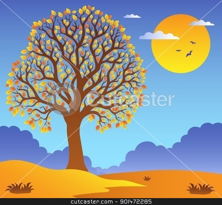 Scenery with leafy tree 2 stock vector clipart, Scenery with leafy tree 2 - vector illustration. by Klara Viskova