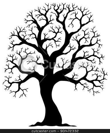 Tree shaped silhouette 2 stock vector clipart, Tree shaped silhouette 2 - vector illustration. by Klara Viskova