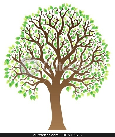 Tree with green leaves 1 stock vector clipart, Tree with green leaves 1 - vector illustration. by Klara Viskova