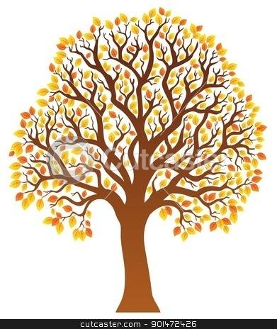 Tree with orange leaves 1 stock vector clipart, Tree with orange leaves 1 - vector illustration. by Klara Viskova