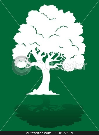 White tree on green background 1 stock vector clipart, White tree on green background 1 - vector illustration. by Klara Viskova