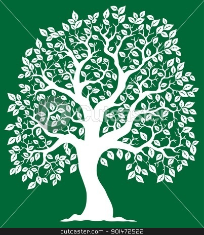 White tree on green background 2 stock vector clipart, White tree on green background 2 - vector illustration. by Klara Viskova