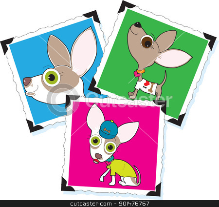 Chihuahua Photographs stock vector clipart, Three different photographs of a Chihuahua, each pasted on a white background using old fashioned black photo corners. by Maria Bell