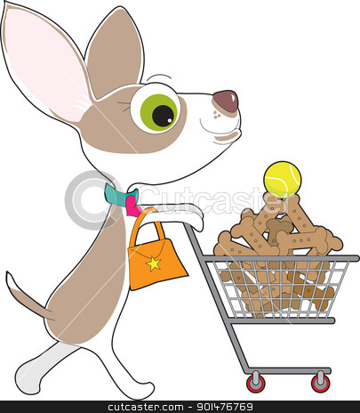 Chihuahua Shopping stock vector clipart, A Chihuahua, complete with dress collar and purse, is out supermarket shopping. In her cart is a stack of dog biscuits, with a single tennis ball on top. by Maria Bell