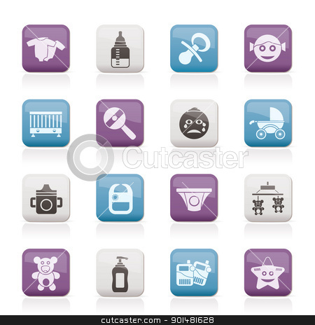Baby, children and toys icons  stock vector clipart, Baby, children and toys icons - vector icon set by Stoyan Haytov