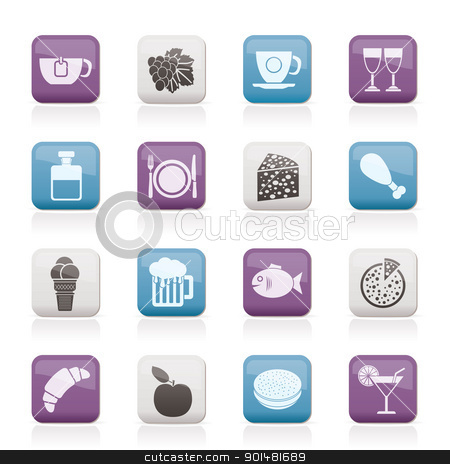 Food, Drink and beverage icons  stock vector clipart, Food, Drink and beverage icons - vector icon set by Stoyan Haytov