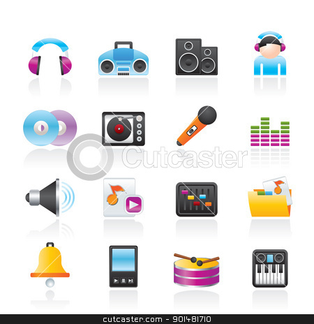 Music and sound Icons stock vector clipart, Music and sound Icons Vector Icon Set by Stoyan Haytov