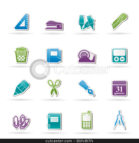 Business and office objects icons stock vector clipart, Business and office objects icons - vector icon set by Stoyan Haytov
