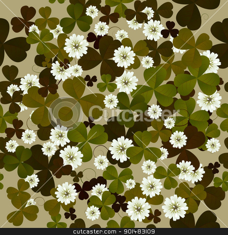 A seamless floral pattern with clovers stock vector clipart, A seamless floral pattern with clovers, background tile for Saint Patrick's Day  by Richard Laschon