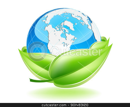 Protect The Earth stock vector clipart, This image is a vector file representing a 3d Earth Globe in a leaf nest,  all the elements can be scaled to any size without loss of resolution. by Bagiuiani Kostas