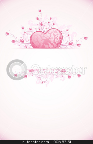Valentines Day Card Template stock vector clipart, Abstract Valentines Day Card Template with Heart and florals by Vadym Nechyporenko