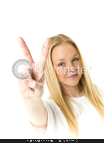 Cool girl stock photo, Young woman doing v-sign isolated on white background by Anne-Louise Quarfoth