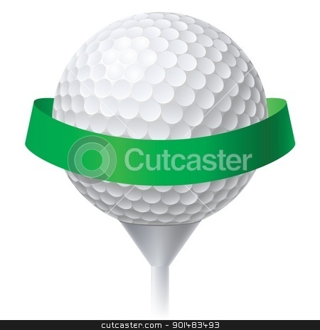 Golf Ball stock photo, Golf Ball with Green Ribbon. Illustration on white background for design by dvarg