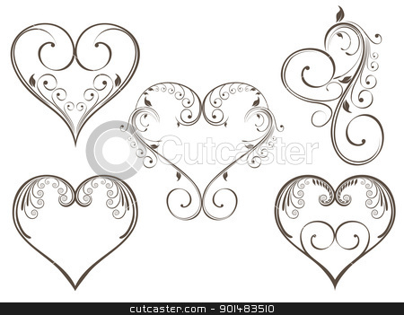 vintage design heart shape for Valentine stock vector clipart, Vector ... Vintage Border Vector