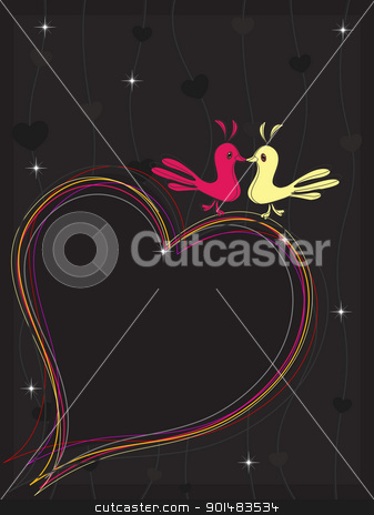 A colourful heart made with lines and the couple of two love bir stock vector clipart, A colorful heart made with lines and the couple of two love birds on seamless background for Vector illustration by Abdul Qaiyoom