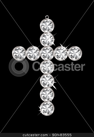 Diamond pendant cross stock vector clipart, Silver diamond cross relgious pendant with black background by Michael Travers