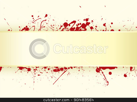 Paper tab blood splat stock vector clipart, Grunge inspired blood splat background with copy space by Michael Travers