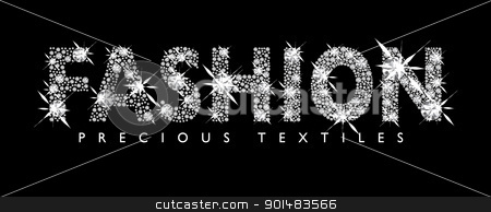 Diamond Fashion stock vector clipart, White diamond fashion text with black background by Michael Travers