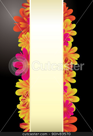 Paper tab floral stock vector clipart, Floral elements on a black background with copy space for text by Michael Travers
