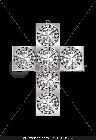 Diamond pendant crucifix stock vector clipart, Silver crucifix pendant encrusted with diamonds and black background by Michael Travers