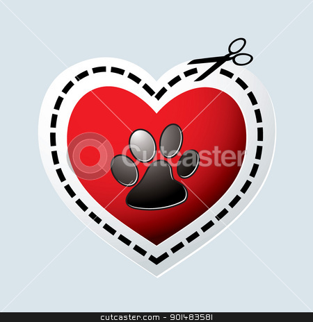 Dog paw heart stock vector clipart, Red love heart with dogs paw print and dotted line by Michael Travers