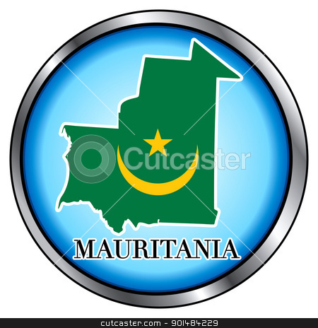 Mauritania Round Button stock vector clipart, Vector Illustration for Mauritania, Round Button. by Basheera Hassanali