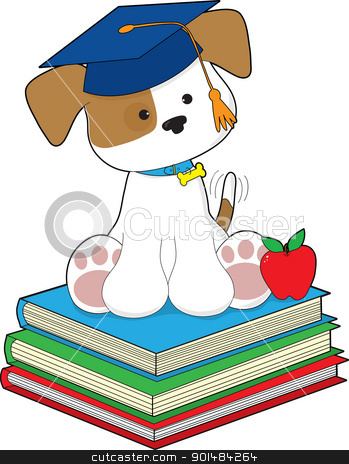 Cute Puppy Graduate stock vector clipart, A cute puppy wearing a graduate cap, is sitting atop a stack of three books, beside a red apple.  by Maria Bell