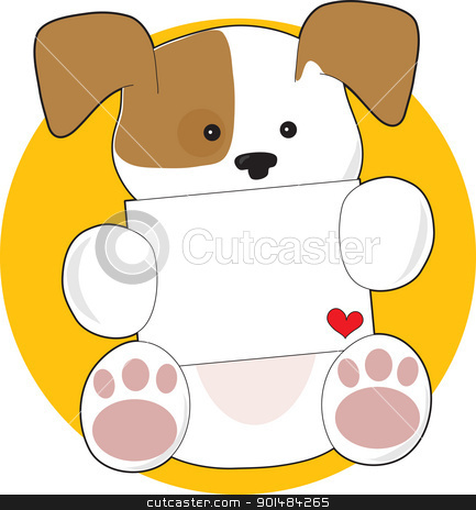 Cute Puppy Letter stock vector clipart, A cute brown and white puppy, on a circular yellow background, is holding a letter with a small heart in the corner. by Maria Bell
