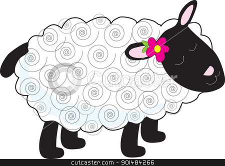 Little Lamb stock vector clipart, A little lamb has a curly, white coat and black face, legs and tail. A small flower sits beside one of her pink ears. by Maria Bell