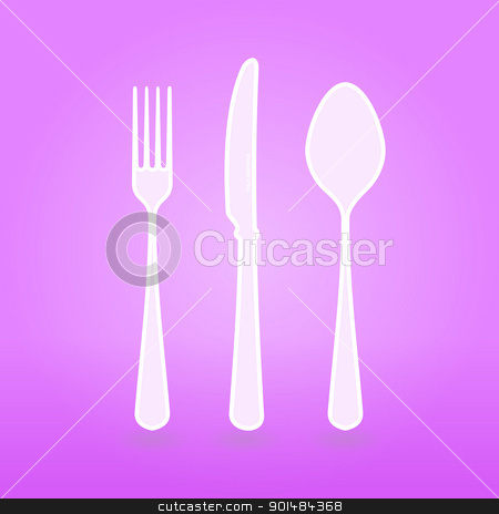 Violet Cutlery Set stock vector clipart, Illustration of Violet Cutlery vector set as design concept or background by Vitezslav Valka