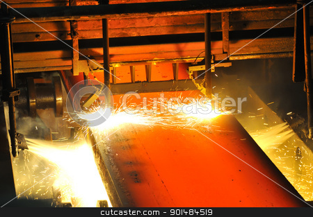 Gas cutting of the hot metal stock photo, Gas cutting of the hot metal by jordachelr