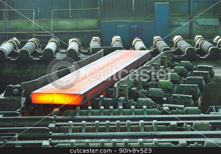 hot steel on conveyor stock photo, hot steel on conveyor by jordachelr