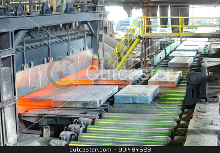 hot steel in oven stock photo, hot steel in oven by jordachelr