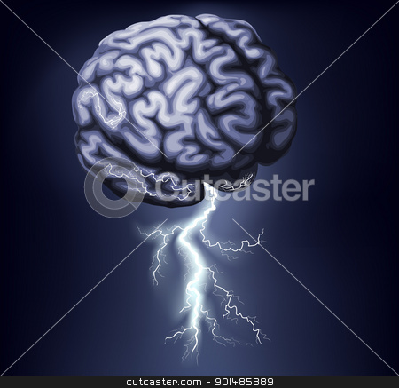 Brain Storm Illustration stock vector clipart, Illustration of a brain with lightning coming out of it. Concept for a brain storm by Christos Georghiou
