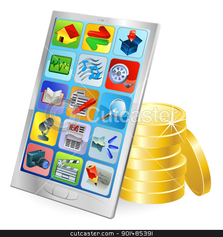 Phone or tablet PC money concept stock vector clipart, Mobile phone or tablet PC gold coin money concept by Christos Georghiou